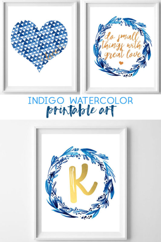 image about Free Printable Wall Decor known as totally free printable artwork indigo watercolor - all cunning factors