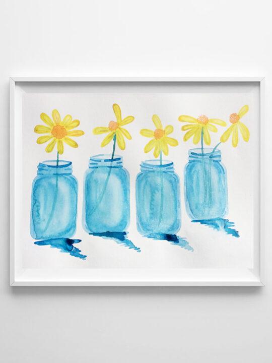 mason jar watercolor art