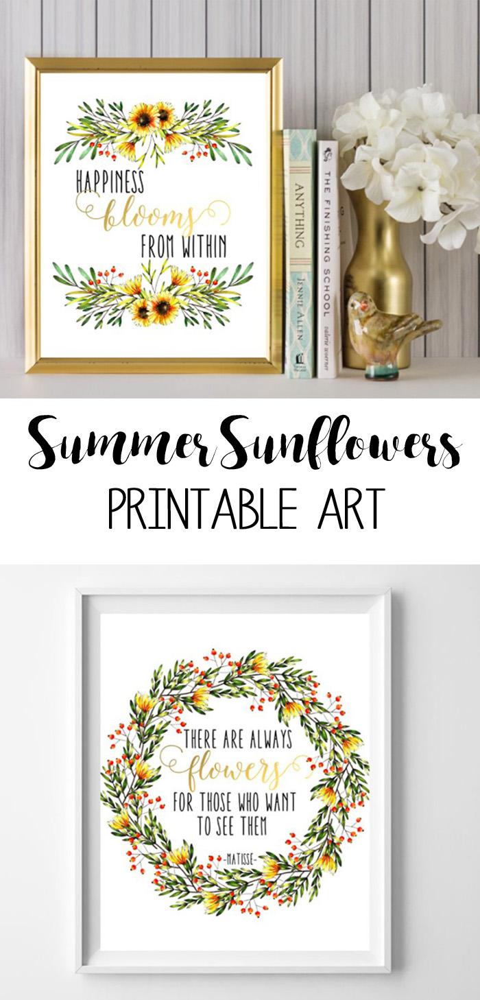 sunflowers printables