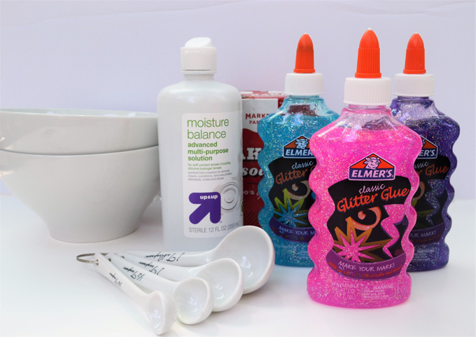 How to make slime with glitter glue baking soda and contact lens solution