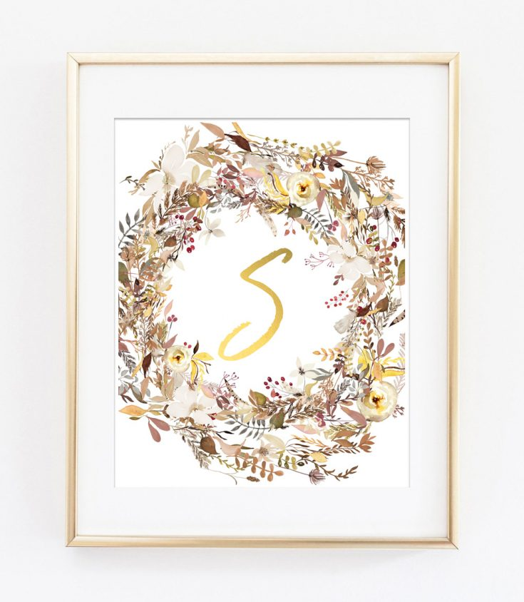Fall wreath initial printables