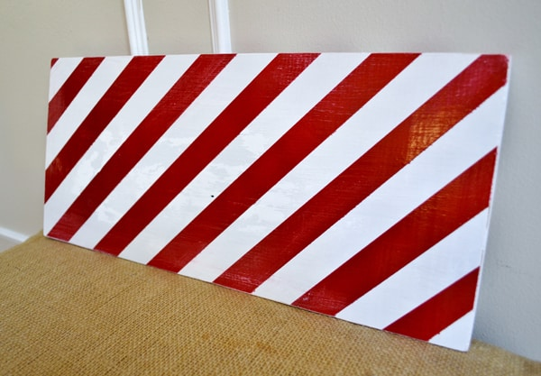 red white striped wood board