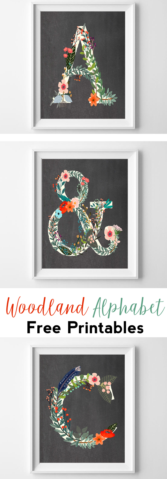 woodland alphabet free printable wall art | nursery printables | letter art