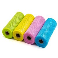 LaRibbons Deco Poly Mesh Ribbon - 10 inch x 30 feet - Metallic Foil Green/Pink/Blue/Yellow