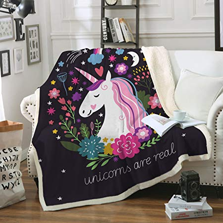Sleepwish Cute Unicorn Blanket Girls Cartoon Unicorn with Flowers Fleece Blanket Black Sherpa Blanket for Kids Adults