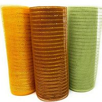 Earth Tones 10 Yard Decorative Mesh Rolls (Pack of 3) for Crafting Wire Wreaths (Gold, Green, Brown)