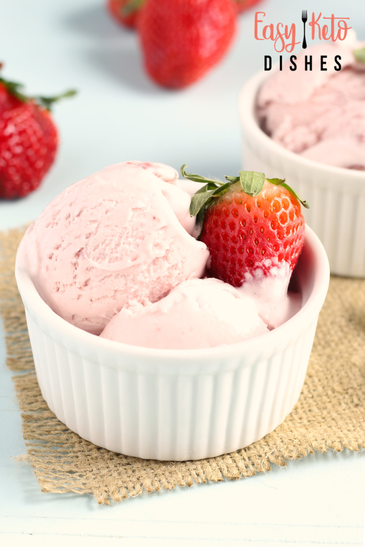 Dairy free, no churn, low carb strawberry ice cream
