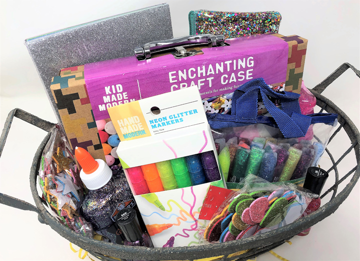 glitter themed gift basket