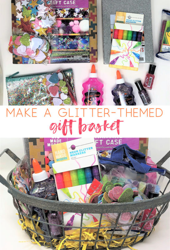 make a glitter gift basket