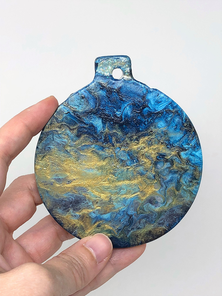 blue and gold painted ornament