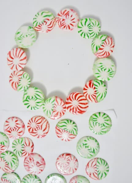 christmas wreath out of mints