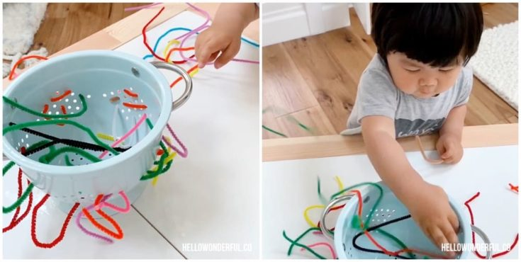 COLANDER PIPE CLEANER FINE MOTOR SKILLS ACTIVITY FOR TODDLERS