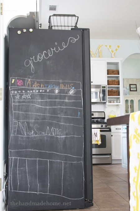 chalkboard painted fridge