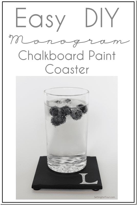 Easy DIY Monogram Chalkboard Paint Coasters