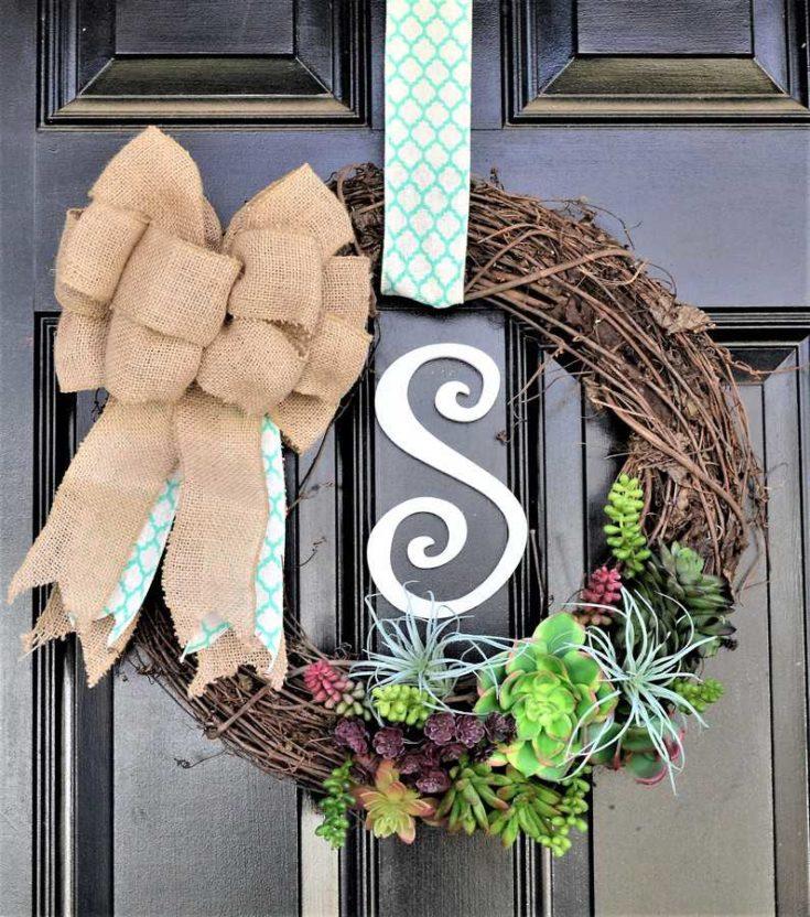 Succulent Wreath {How to Make a Spring Door Wreath}