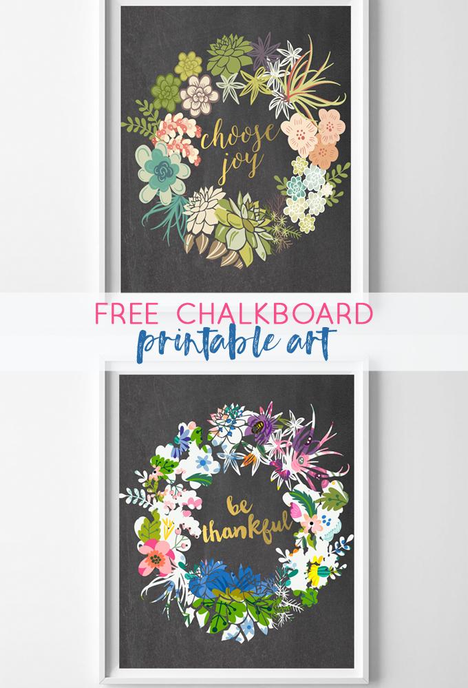 Free Chalkboard Printables {Be Thankful & Choose Joy}