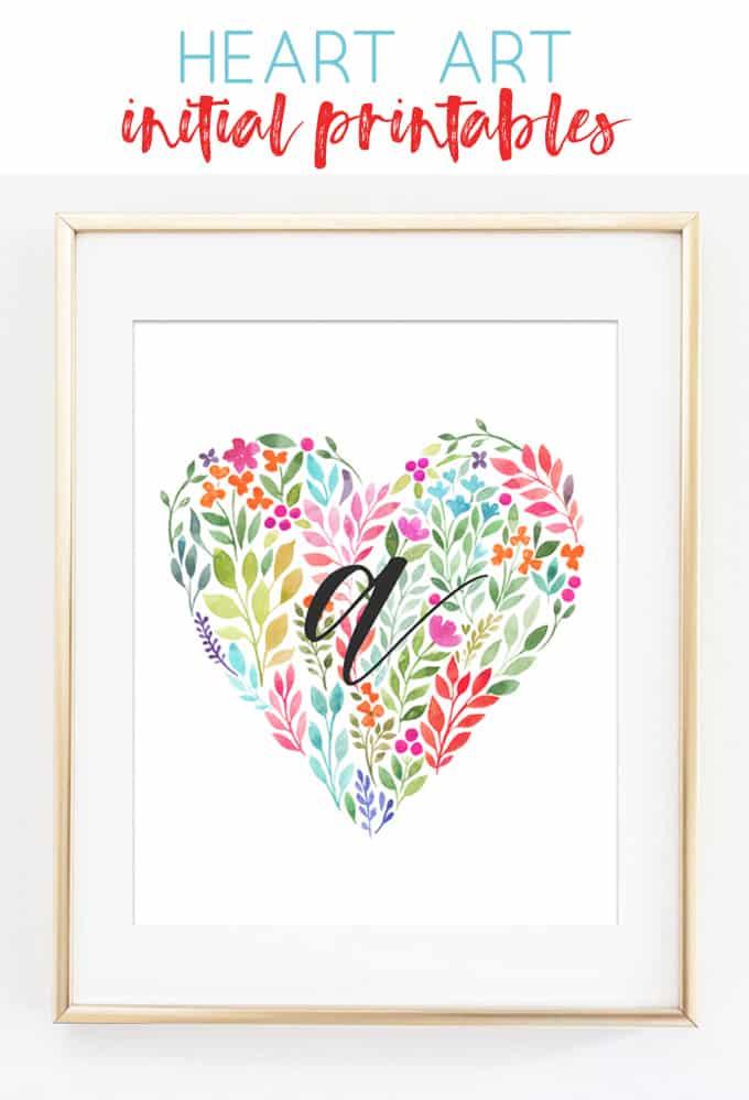 Heart Art Initial Printables {Girl Initial Wall Art Ideas}