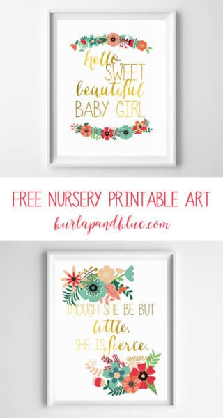 free nursery printables {mint, coral, gold}