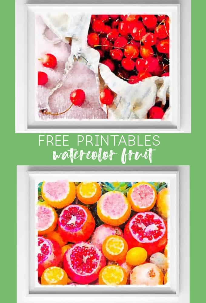 FREE KITCHEN PRINTABLES {WATERCOLOR FRUIT ART}
