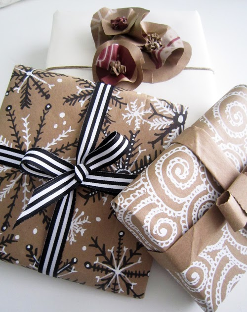 holiday wrapping with paper bags