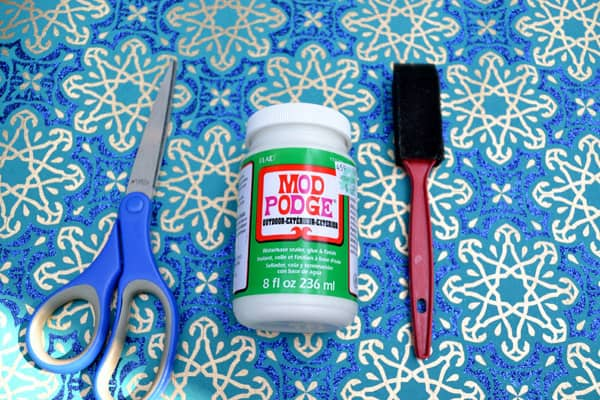 mod podge, scissors, foam brush