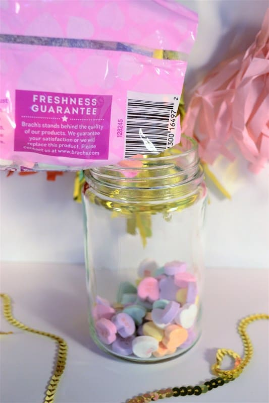 candy hearts in jar