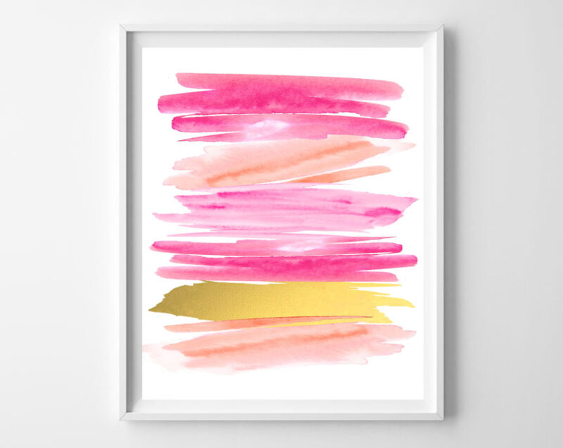 pink and gold art