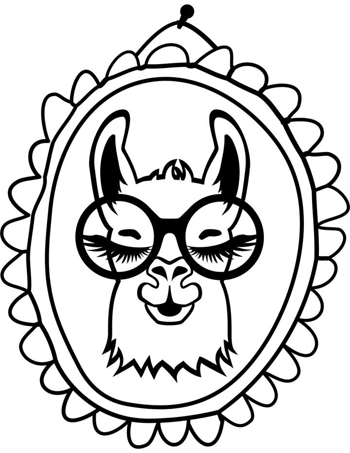 llama coloring page 2