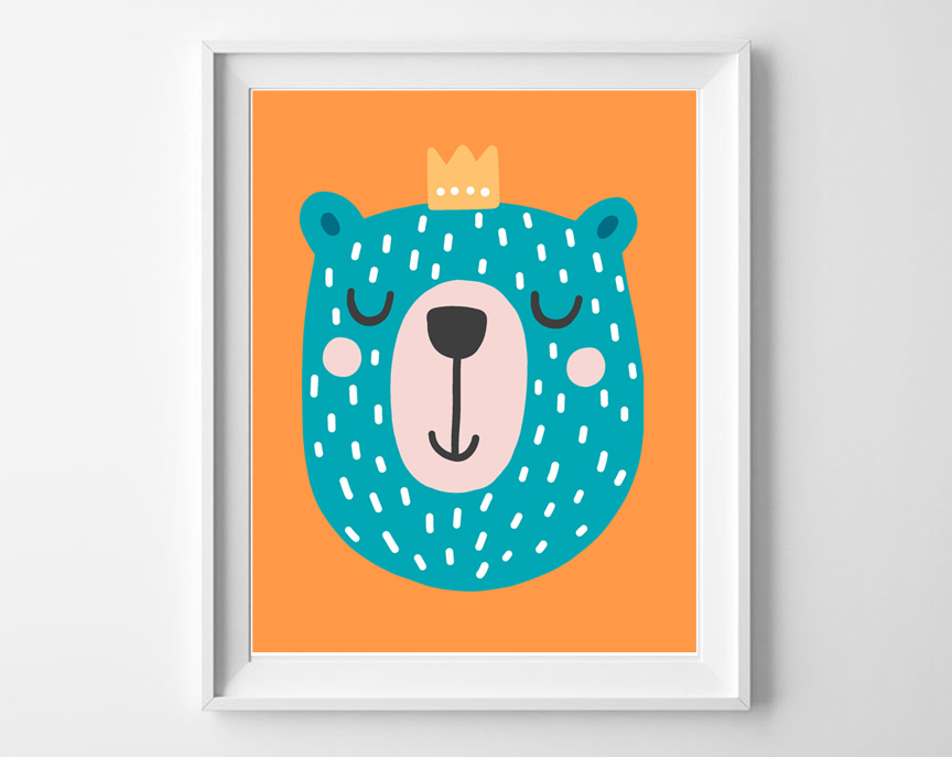 woodland printable bear